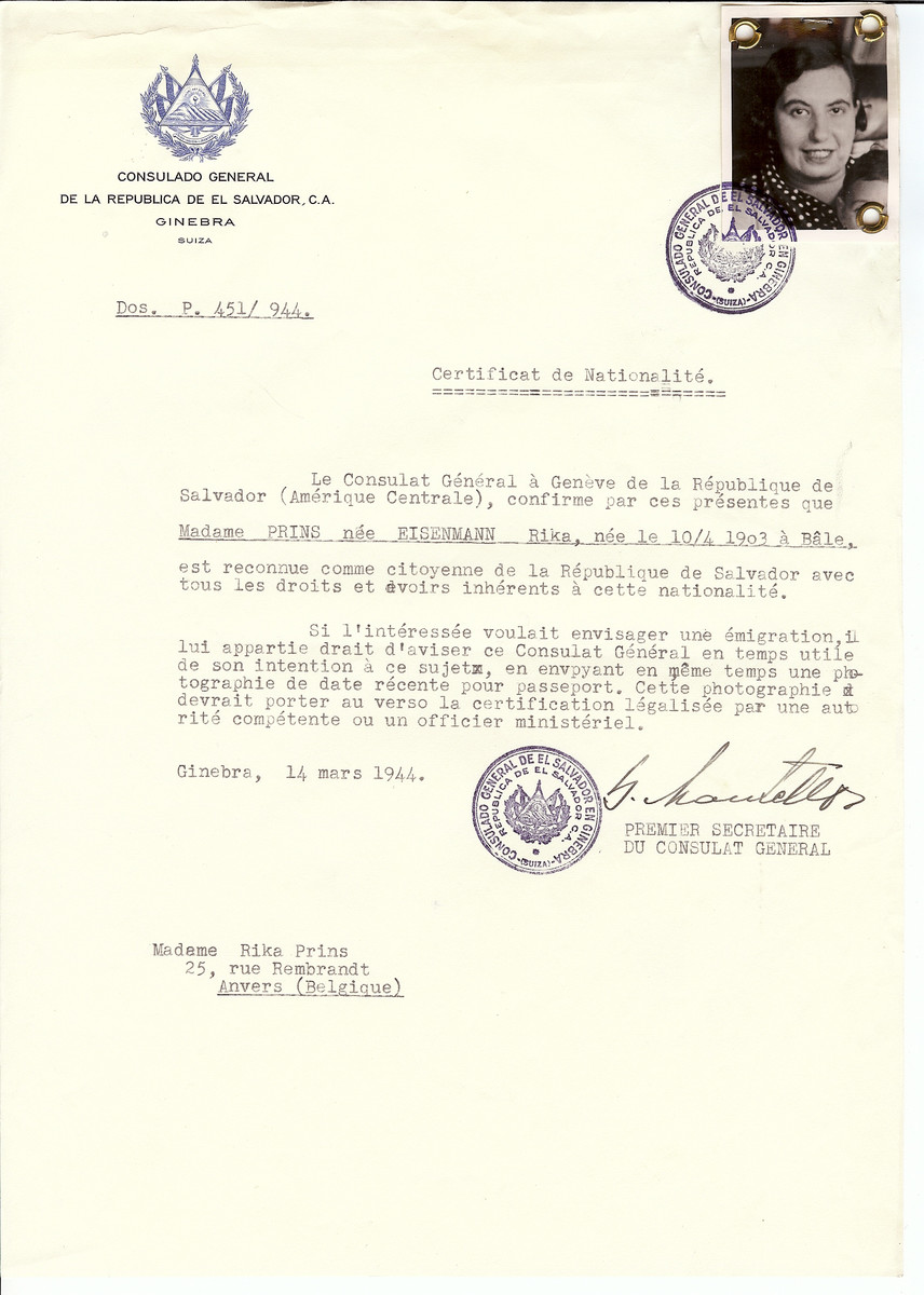 Unauthorized Salvadoran citizenship certificate issued to Rika (nee Eisenmann) Prins (b. April 10, 1903 in Antwerp) by George Mandel-Mantello, First Secretary of the Salvadoran Consulate in Switzerland and sent to her residence in Antwerp.