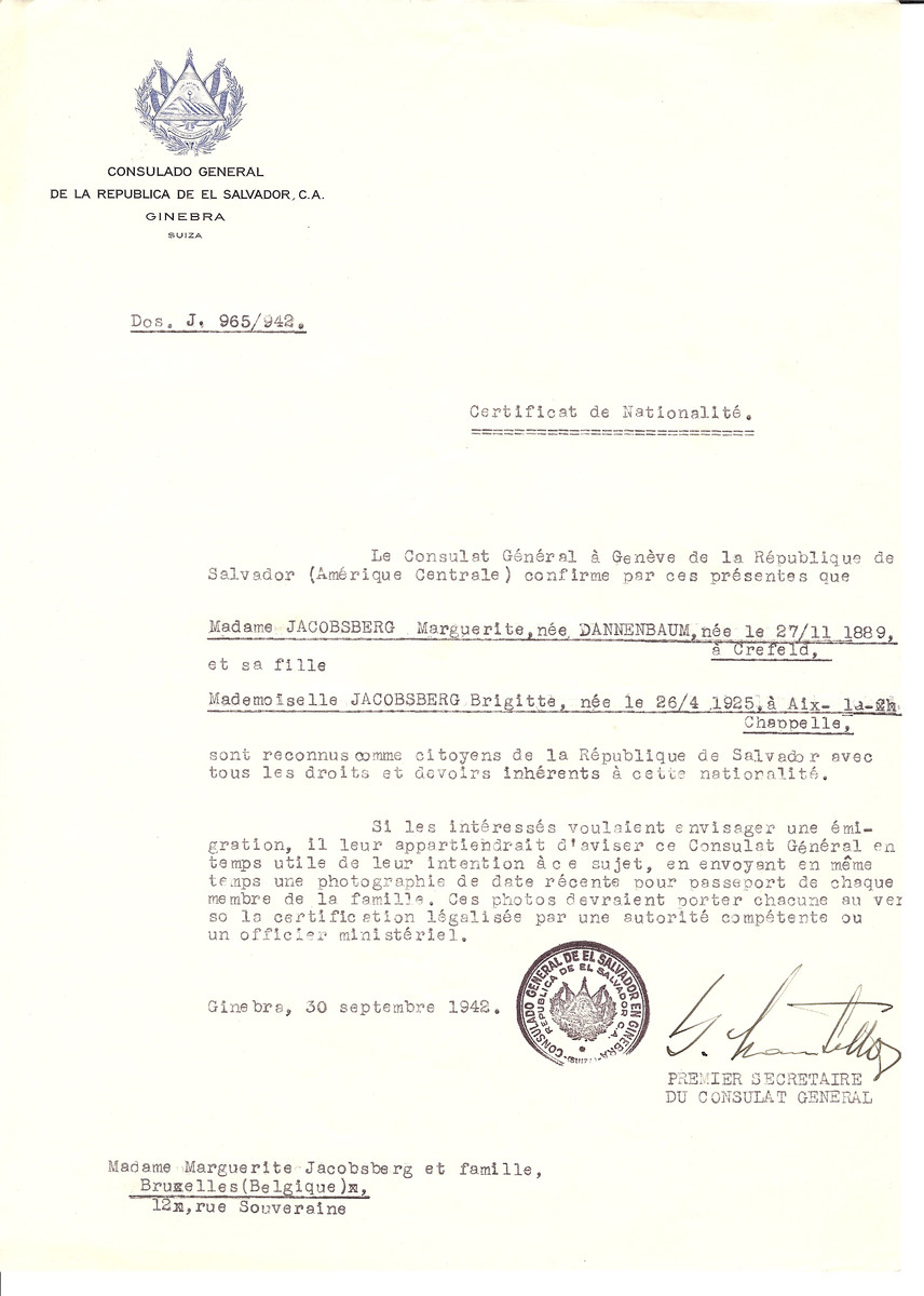 Unauthorized Salvadoran citizenship certificate issued to Marguerite (nee Dannenbaum) Jacobsberg (b. November 27, 1889 in Crefeld) and her daughter Brigitte Jacobsberg (b. April 26, 1925 in Aix-la-Chappelle) by George Mandel-Mantello, First Secretary of the Salvadoran Consulate in Switzerland and sent to their residence in Brussels.