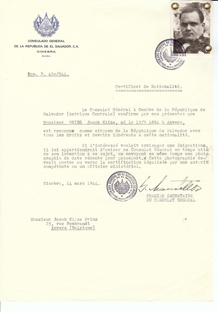 Unauthorized Salvadoran citizenship certificate issued to Jacob Elisa Prins (b. March 13,1894 in Antwerp) by George Mandel-Mantello, First Secretary of the Salvadoran Consulate in Switzerland and sent to his residence in Antwerp.