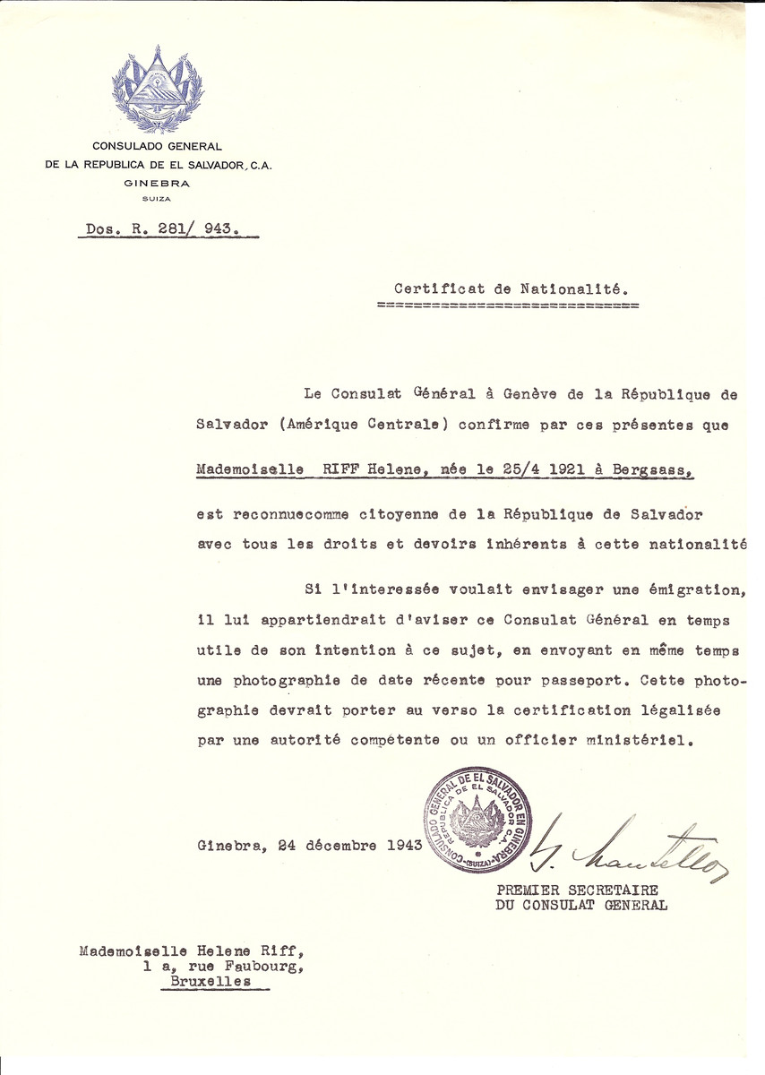 Unauthorized Salvadoran citizenship certificate issued to Helen Riff (b. April 25, 1921 in Bergass) by George Mandel-Mantello, First Secretary of the Salvadoran Consulate in Switzerland and sent to her residence in Brussels.