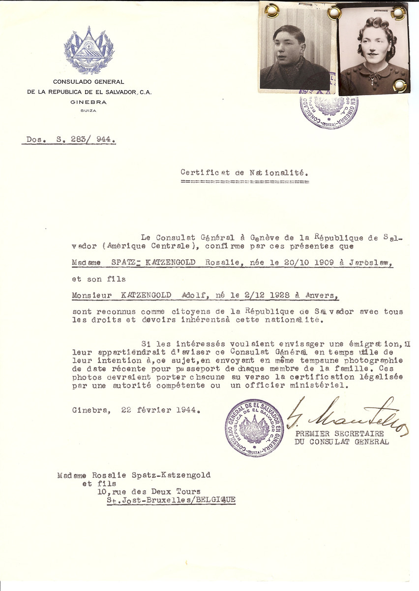 Unauthorized Salvadoran citizenship certificate issued to Rosalie Spatz-Katzengold (b. October 20, 1909 in Jeroslaw) and her son Adolf Katzengold (b. December 2, 1928 in Antwerp) by George Mandel-Mantello, First Secretary of the Salvadoran Consulate in Switzerland and sent to their residence in Brussels.