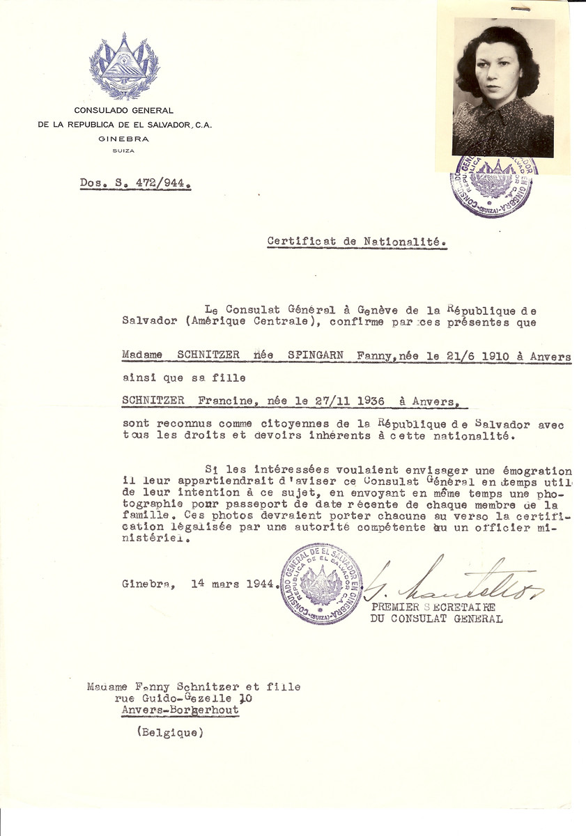 Unauthorized Salvadoran citizenship certificate issued to Fanny (nee Spingarn) Schnitzer (b. June 21, 1910 in Antwerp) and her daughter Francine (b. November 27, 1936) by George Mandel-Mantello, First Secretary of the Salvadoran Consulate in Switzerland and sent to their residence in Antwerp.
