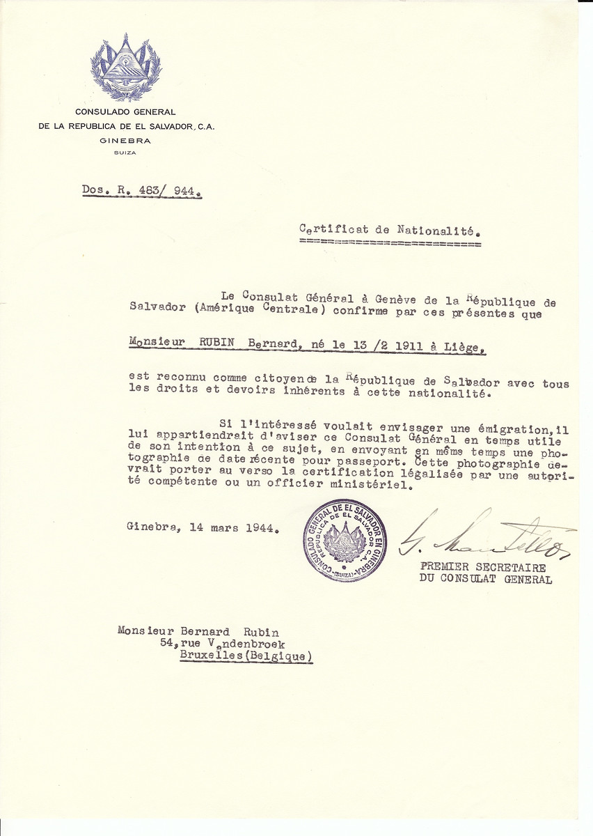 Unauthorized Salvadoran citizenship certificate issued to Bernard Rubin (b. February 13, 1911 in Liege) by George Mandel-Mantello, First Secretary of the Salvadoran Consulate in Switzerland and sent to his residence in Brussels