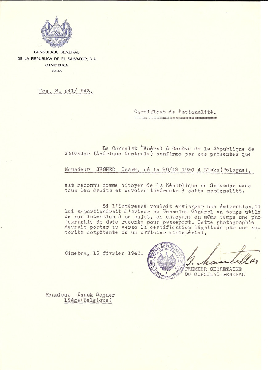 Unauthorized Salvadoran citizenship certificate issued to Issak Segner (b. December 29, 1920 in Lisko) by George Mandel-Mantello, First Secretary of the Salvadoran Consulate in Switzerland and sent to his residence in Liege.