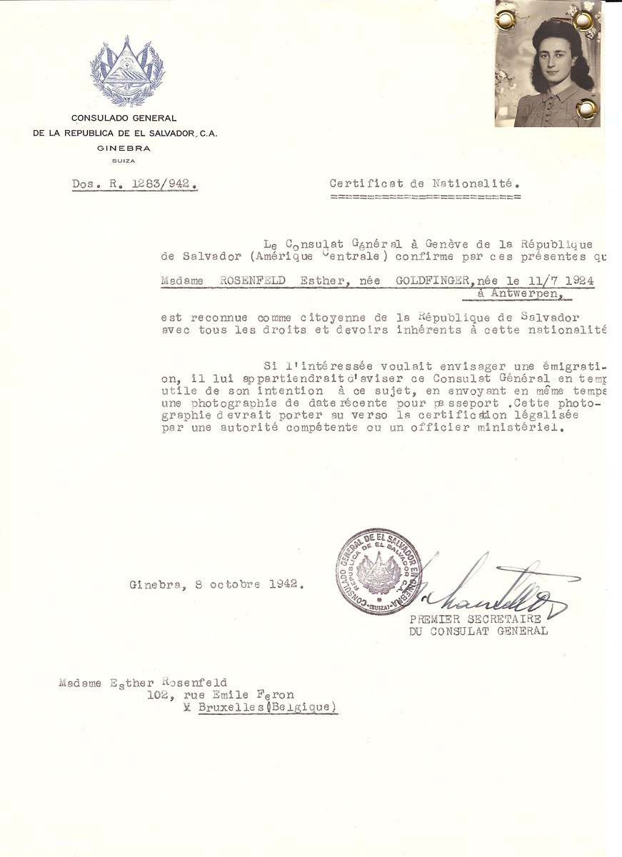 Unauthorized Salvadoran citizenship certificate issued to Esther (nee Goldfinger) Rosenfeld (b. July 11, 1924 in Antwerp) by George Mandel-Mantello, First Secretary of the Salvadoran Consulate in Switzerland and sent to her residence in Brussels.