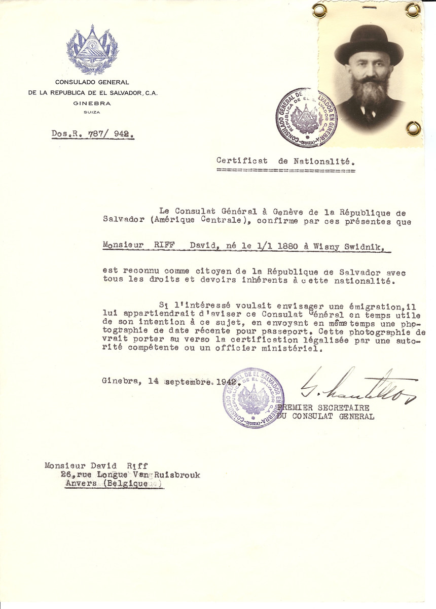 Unauthorized Salvadoran citizenship certificate issued to David Riff (b. January 1, 1880 in Wisny Swidnik) by George Mandel-Mantello, First Secretary of the Salvadoran Consulate in Switzerland and sent to his residence in Antwerp.