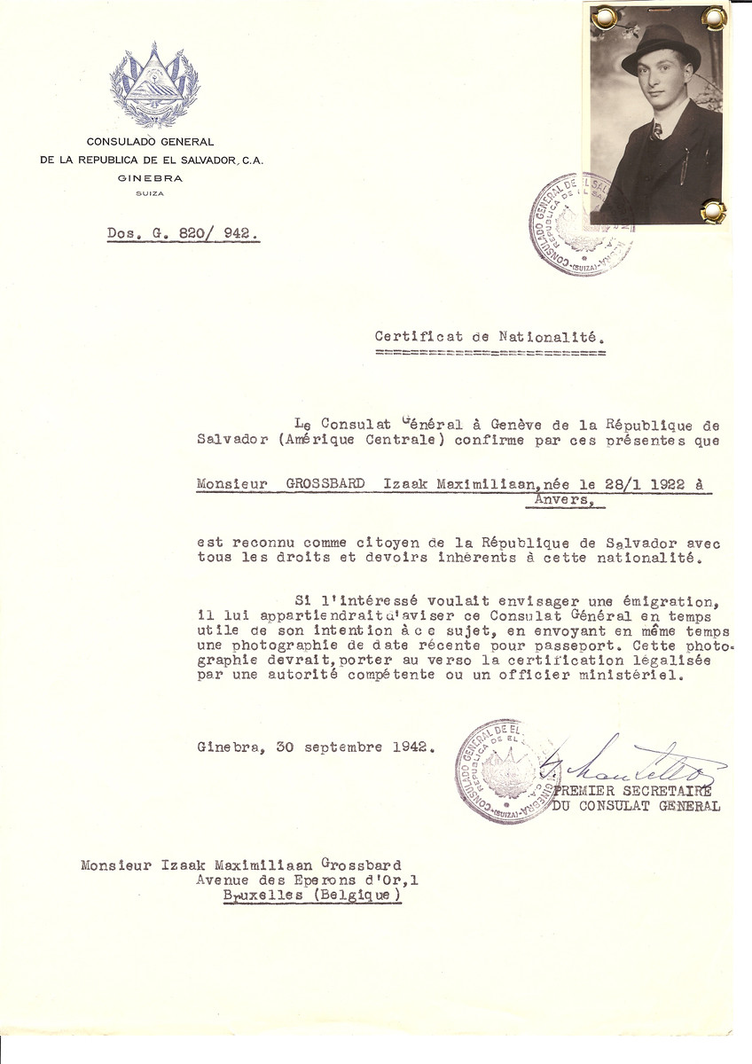 Unauthorized Salvadoran citizenship certificate issued to Izaak Maximilian Grossbard (b. January 28, 1922 in Antwerp) by George Mandel-Mantello, First Secretary of the Salvadoran Consulate in Switzerland and sent to his residence in Brussels.