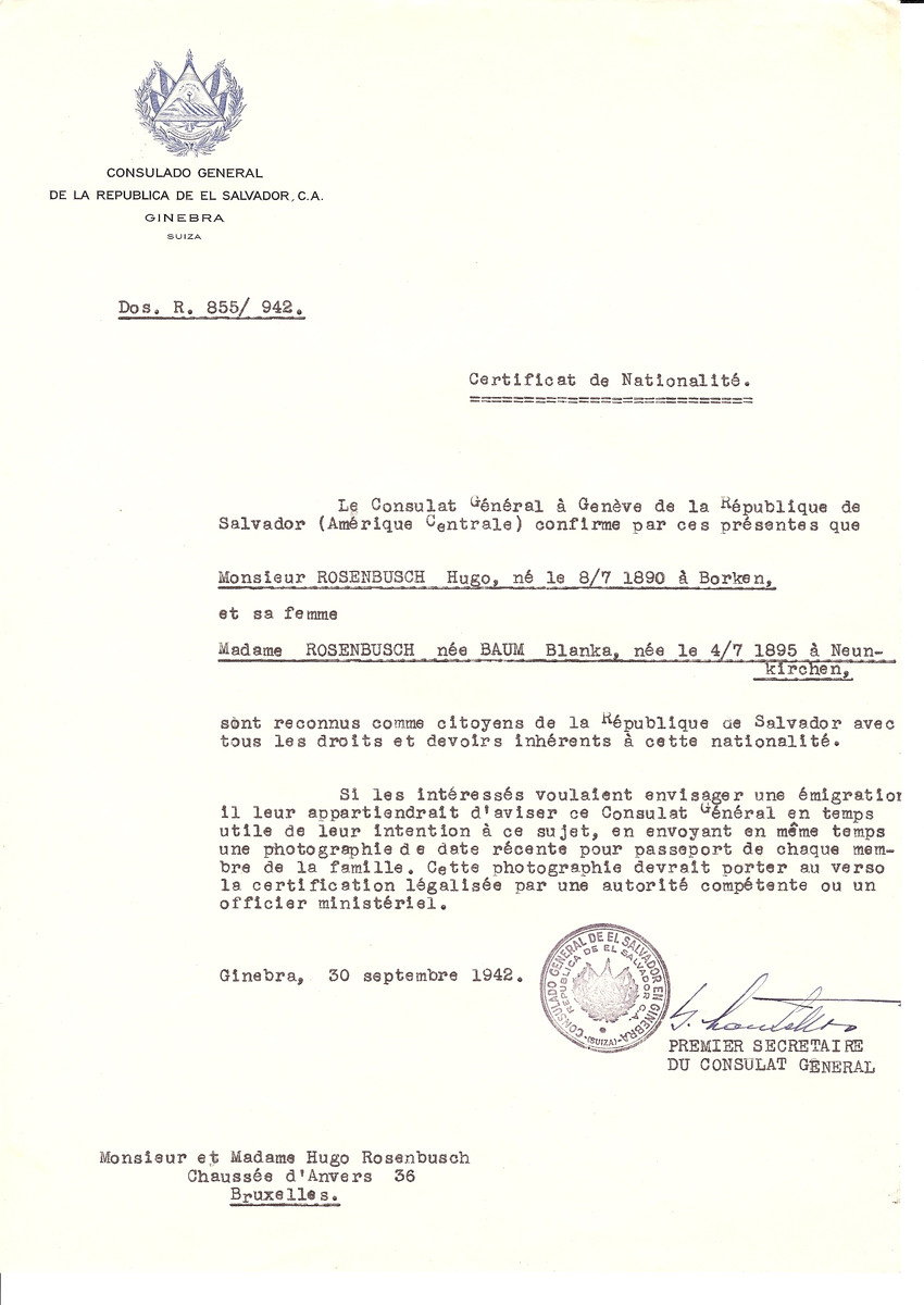 Unauthorized Salvadoran citizenship certificate issued to Hugo Rosenbusch (b. July 8, 1890 in Borken) and his wife Blanka (nee Baum) Rosenbusch (b. July 4, 1895 in Neunkirschen) by George Mandel-Mantello, First Secretary of the Salvadoran Consulate in Switzerland and sent to their residence in Brussels.