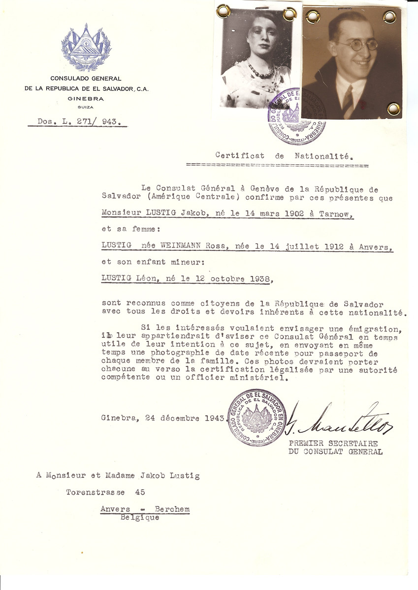 Unauthorized Salvadoran citizenship certificate issued to Jacob Lustig (b. March 14, 1902 in Tarnow), his wife Rosa (nee Weinmann) Lustig (b. July 14, 1912 in Antwerp) and their son Leon (b. October 12, 1938) by George Mandel-Mantello, First Secretary of the Salvadoran Consulate in Switzerland and sent to their residence in Antwerp.  None of the family was deported, and Leon definitely survived.