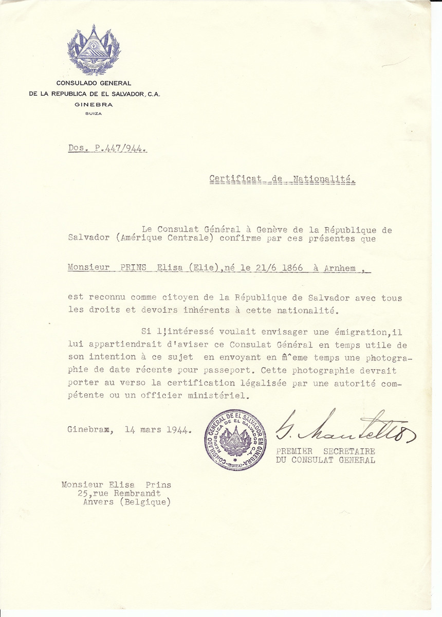 Unauthorized Salvadoran citizenship certificate issued to Elisa Prins (b. June 21, 1866 in Arnheim) by George Mandel-Mantello, First Secretary of the Salvadoran Consulate in Switzerland and sent to his residence in Antwerp.