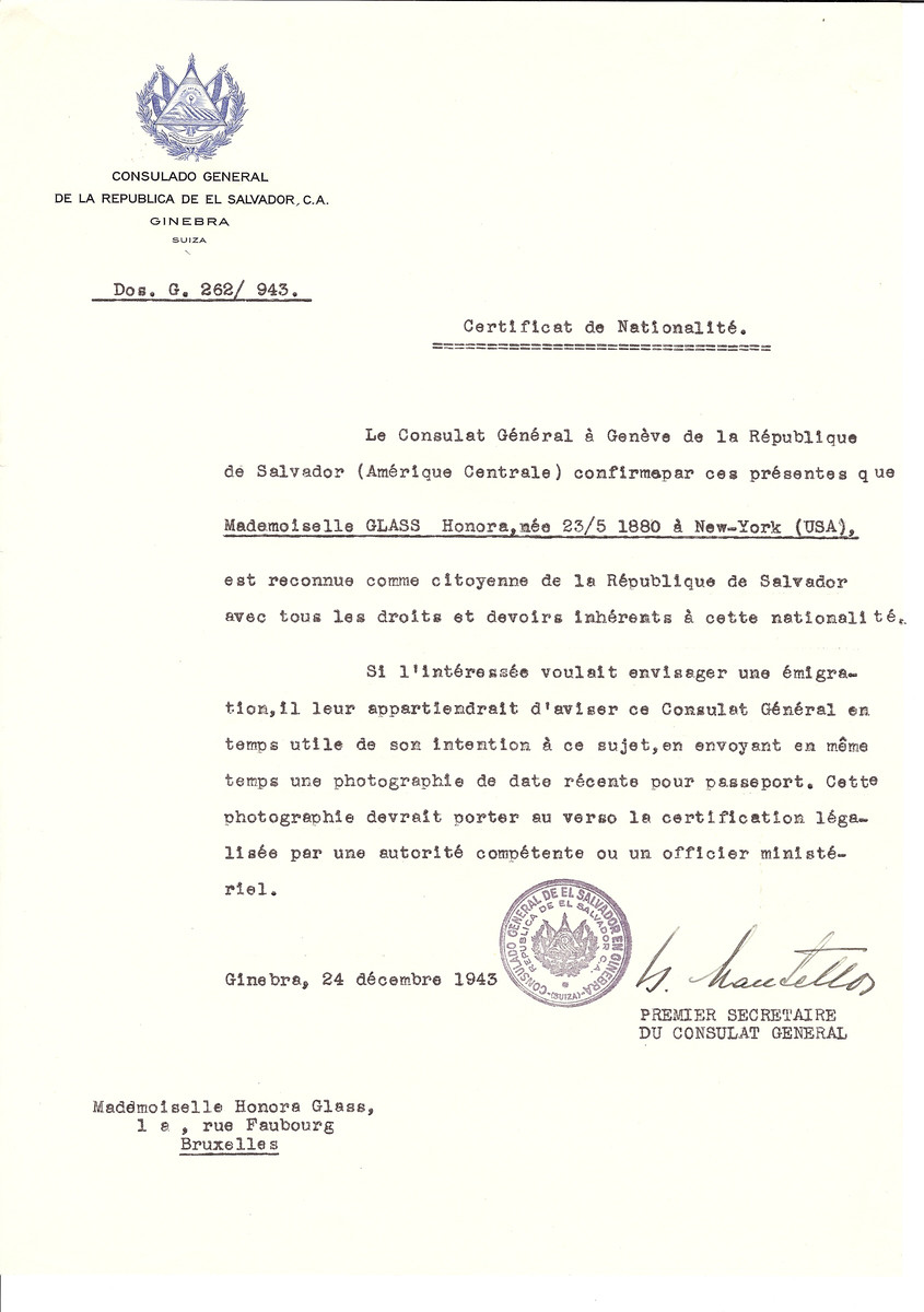 Unauthorized Salvadoran citizenship certificate issued to Honora Glass (b. May 23, 1880 in New York) by George Mandel-Mantello, First Secretary of the Salvadoran Consulate in Switzerland and sent to her residence in Brussels.