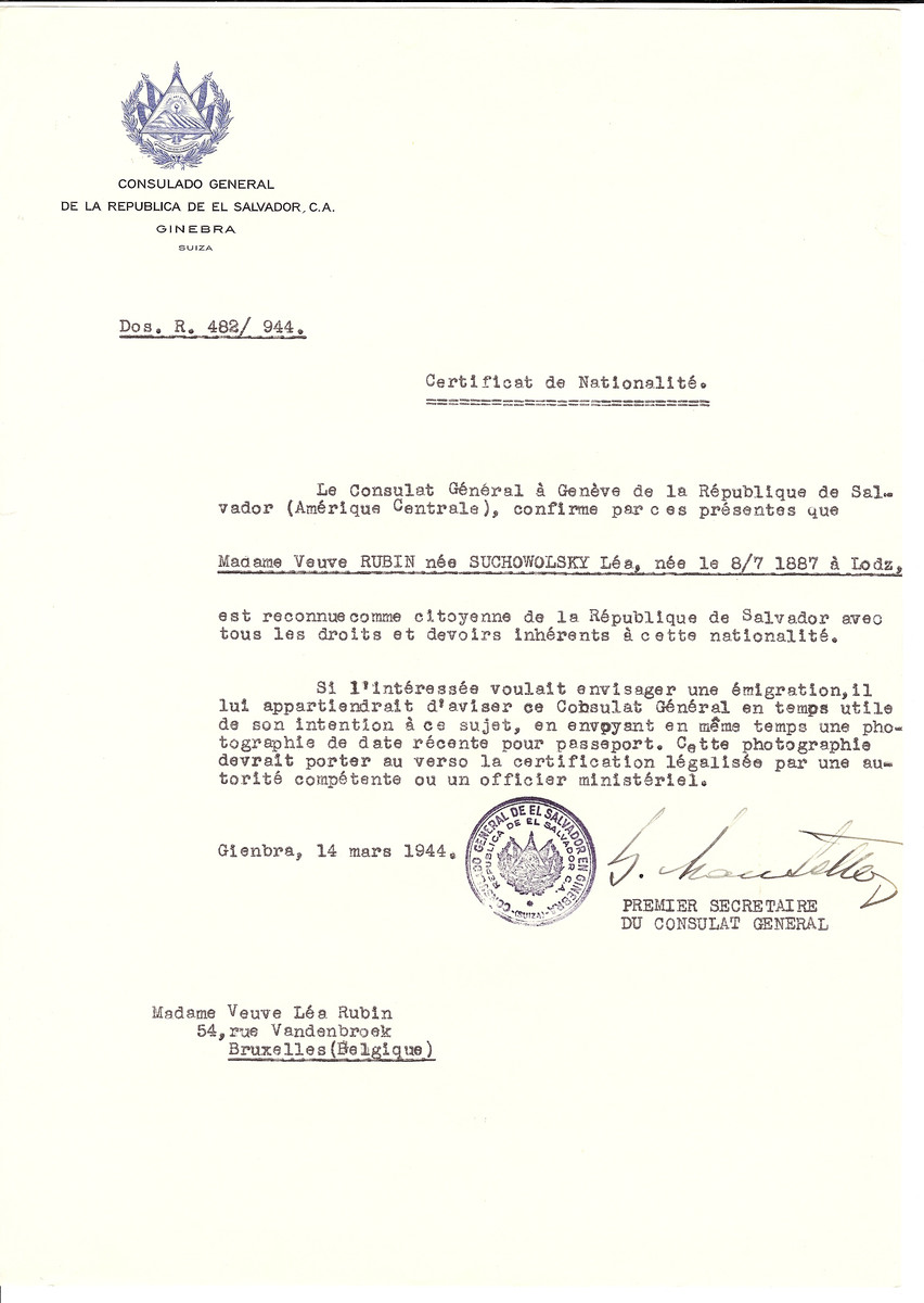 Unauthorized Salvadoran citizenship certificate issued to Lea (nee Suchowolsky) Rubin (b. July 8, 1887 in Lodz) by George Mandel-Mantello, First Secretary of the Salvadoran Consulate in Switzerland and sent to her residence in Brussels.