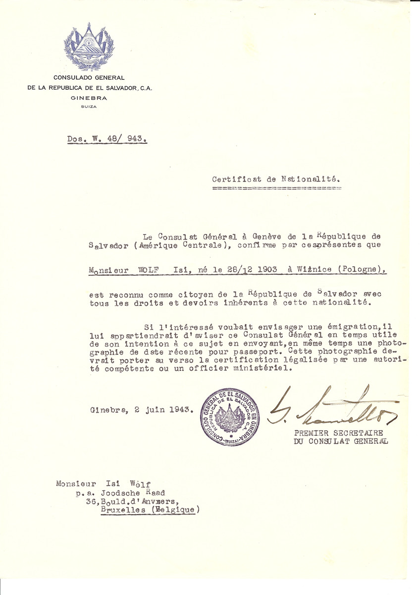 Unauthorized Salvadoran citizenship certificate issued to Isi Wolf (b. December 28, 1903 in Wiznice) by George Mandel-Mantello, First Secretary of the Salvadoran Consulate in Switzerland and sent to his residence in Brussels.