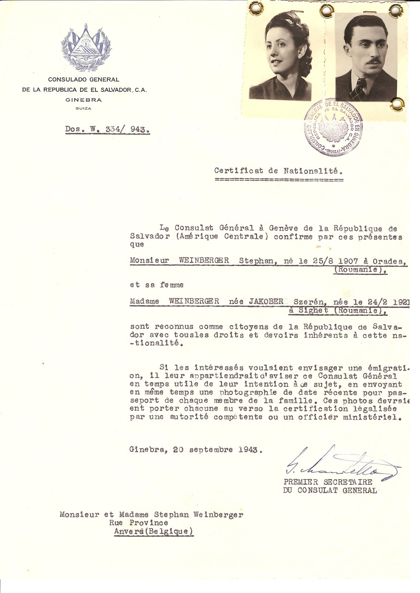 Unauthorized Salvadoran citizenship certificate issued to Stephen Weinberger (b. August 25, 1907 in Oradea) and his wife Szeren (nee Jakober) Weinberger (b. February 24, 1921 in Sighet) by George Mandel-Mantello, First Secretary of the Salvadoran Consulate in Switzerland and sent to their residence in Antwerp.