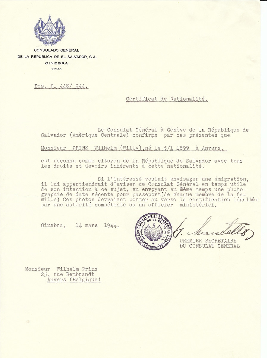 Unauthorized Salvadoran citizenship certificate issued to Wilhelm (Willy) Prins (b. January 5, 1899 in Antwerp) by George Mandel-Mantello, First Secretary of the Salvadoran Consulate in Switzerland and sent to his residence in Antwerp.