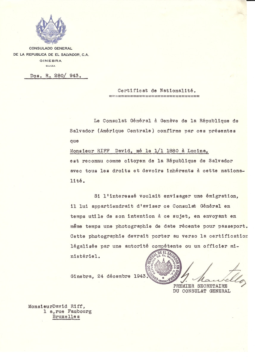 Unauthorized Salvadoran citizenship certificate issued to David Riff (b. January 1, 1880 in Lucina) by George Mandel-Mantello, First Secretary of the Salvadoran Consulate in Switzerland and sent to his residence in Brussels.