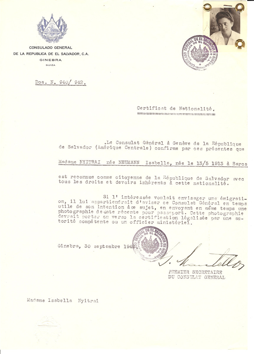 Unauthorized Salvadoran citizenship certificate issued to Isabella (nee Neumann) Nyitrai (b. May 13, 1913 in Barcs) by George Mandel-Mantello, First Secretary of the Salvadoran Consulate in Switzerland.