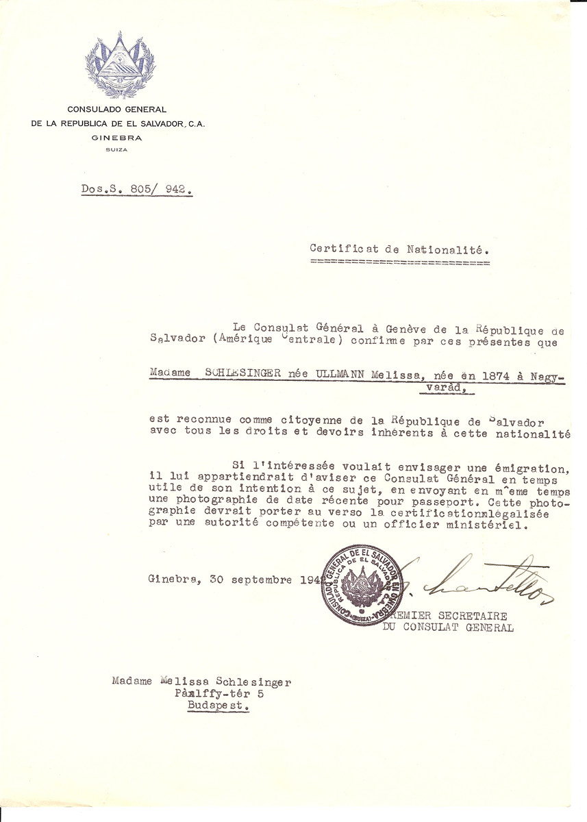 Unauthorized Salvadoran citizenship certificate issued to Melissa (nee Ullmann) Schlesinger (b. 1874 in Nagyvarad) by George Mandel-Mantello, First Secretary of the Salvadoran Consulate in Switzerland and sent to her in Budapest.