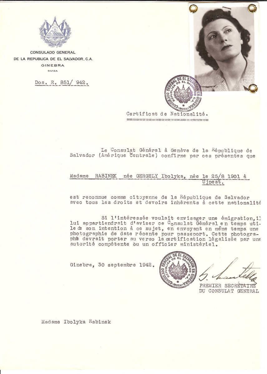 Unauthorized Salvadoran citizenship certificate issued to Ibolyka (nee Gergely) Rabinek (b. August 25, 1901 in Ujpest) by George Mandel-Mantello, First Secretary of the Salvadoran Consulate in Switzerland.