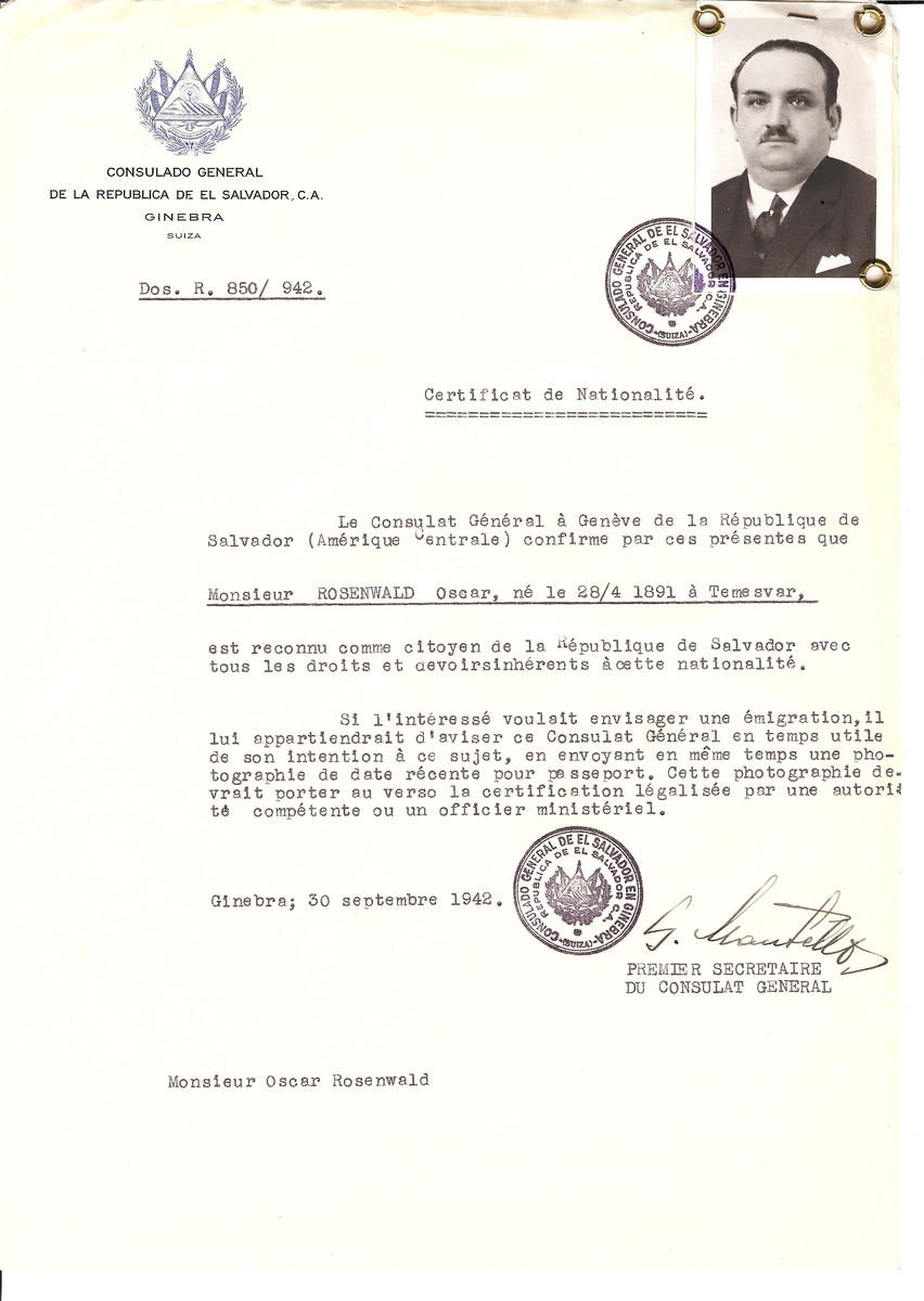 Unauthorized Salvadoran citizenship certificate issued to Oscar Rosenwald (b. April 28, 1891 in Temesvar) by George Mandel-Mantello, First Secretary of the Salvadoran Consulate in Switzerland.