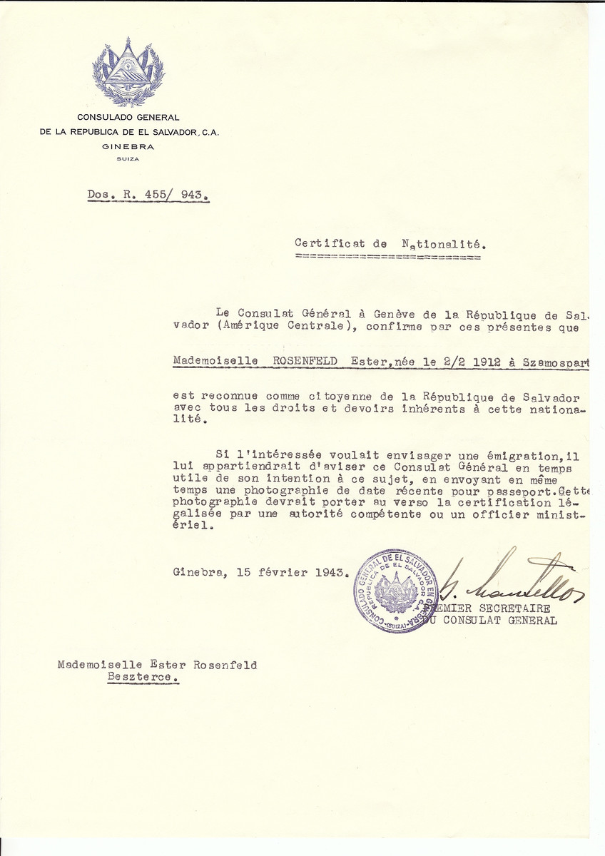 Unauthorized Salvadoran citizenship certificate issued to Ester Rosenfeld (b. February 2, 1912 in Szamospart) by George Mandel-Mantello, First Secretary of the Salvadoran Consulate in Switzerland and sent to her in Bistrita.