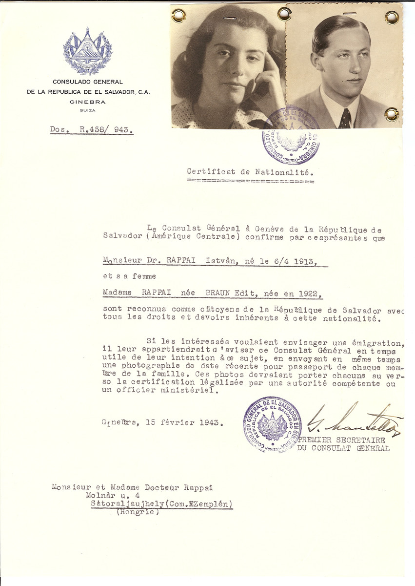Unauthorized Salvadoran citizenship certificate issued to Dr. Istvan Rappai (b. April 6, 1913) and his wife Edit (nee Braun) Rappai (b. 1922) by George Mandel-Mantello, First Secretary of the Salvadoran Consulate in Switzerland and sent to them in Budapest.