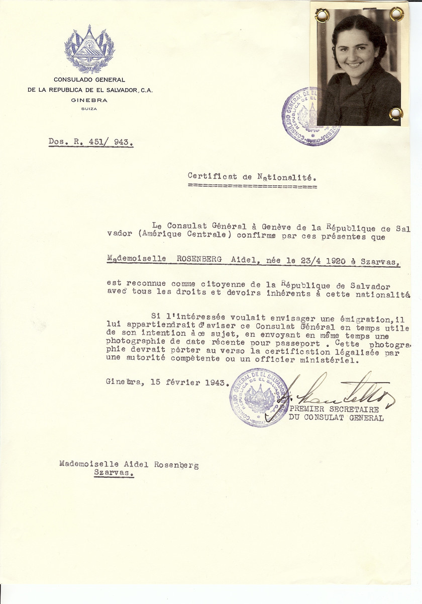 Unauthorized Salvadoran citizenship certificate issued to Aidel Rosenberg (b. April 23, 1920 in Szarvas) by George Mandel-Mantello, First Secretary of the Salvadoran Consulate in Switzerland and sent to her in Szarvas.