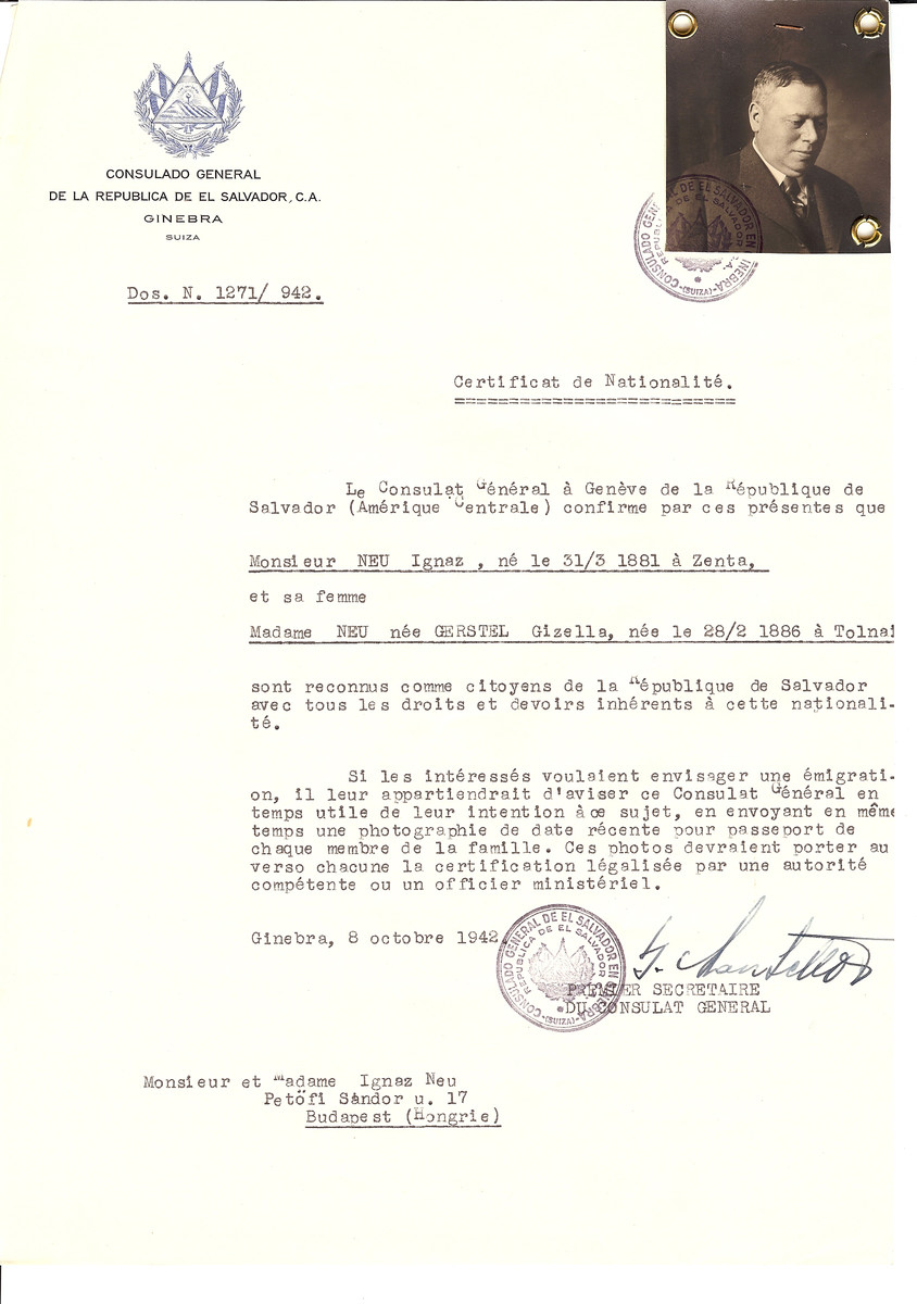 Unauthorized Salvadoran citizenship certificate issued to Ignatz Neu (b. March 31, 1881 in Zenta) and his wife Gizella (nee Gersvel) Neu (b. February 28, 1886 in Tolnai) by George Mandel-Mantello, First Secretary of the Salvadoran Consulate in Switzerland and sent to them in Budapest.