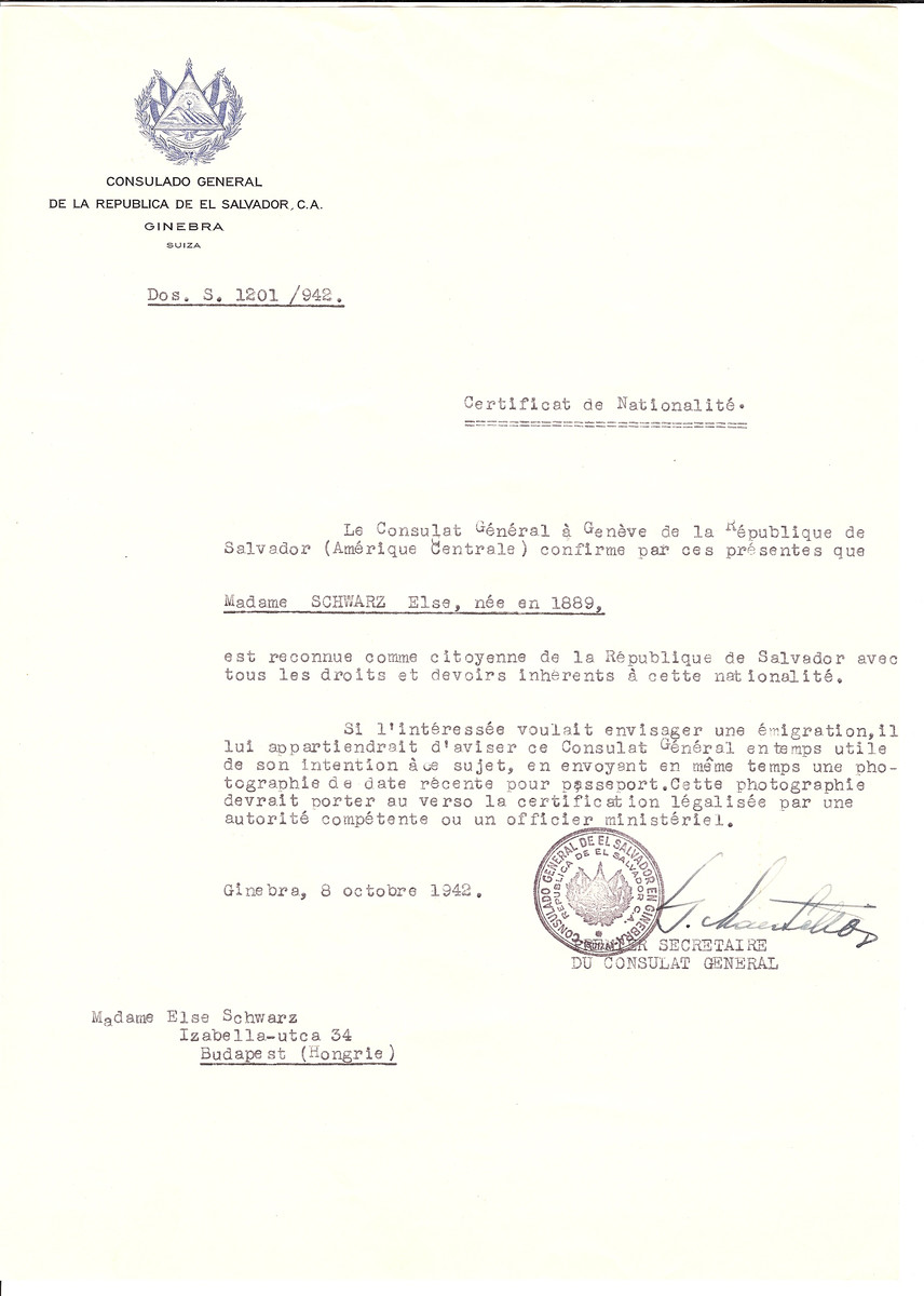 Unauthorized Salvadoran citizenship certificate issued to Else Schwarz (b. 1889) by George Mandel-Mantello, First Secretary of the Salvadoran Consulate in Switzerland and sent to her in Budapest.