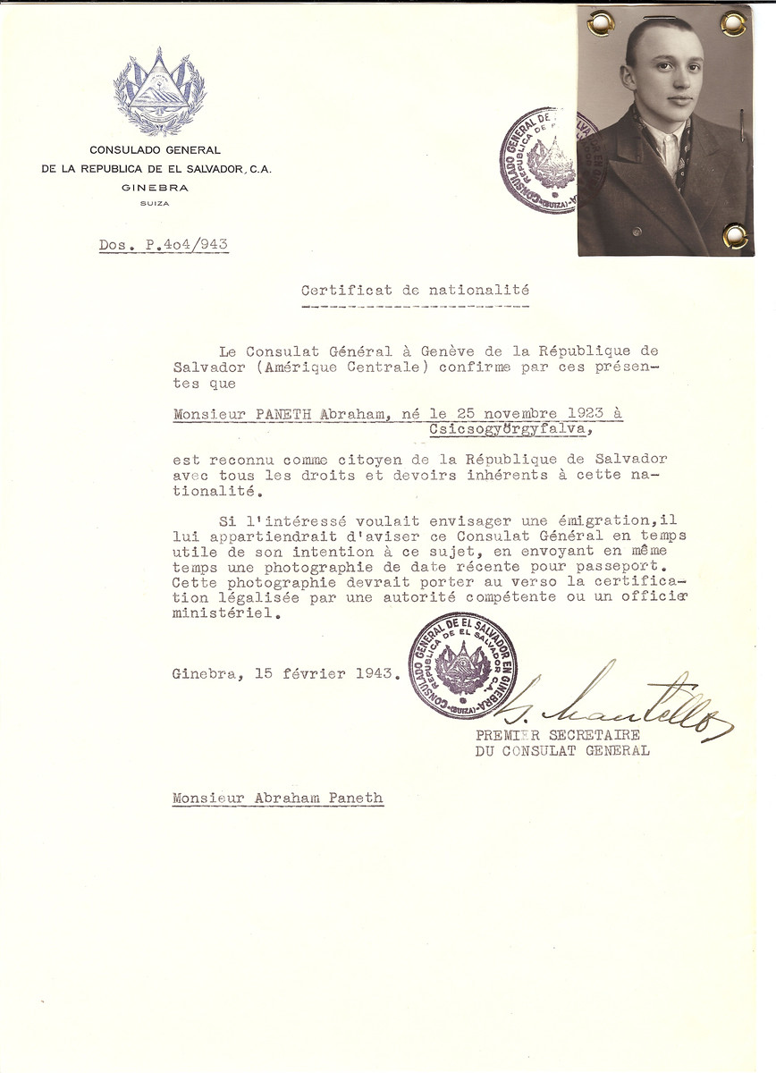 Unauthorized Salvadoran citizenship certificate issued to Abraham Paneth (b. November 25, 1923 in Csicsogyorgyfalva) by George Mandel-Mantello, First Secretary of the Salvadoran Consulate in Switzerland.