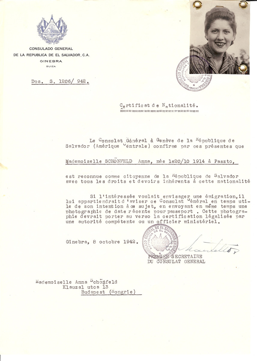 Unauthorized Salvadoran citizenship certificate issued to Anna Schonfeld (b. October 20, 1914 in Paszto) by George Mandel-Mantello, First Secretary of the Salvadoran Consulate in Switzerland and sent to her in Budapest.