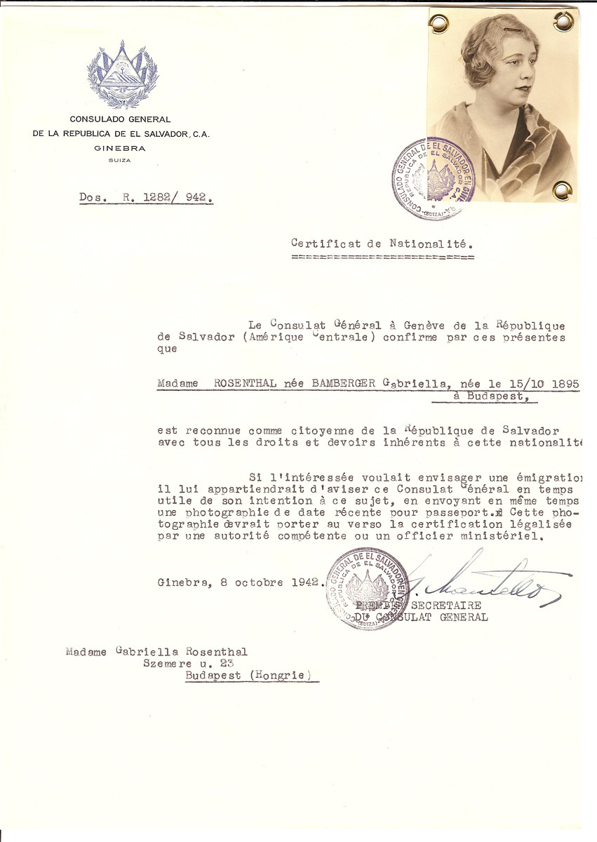 Unauthorized Salvadoran citizenship certificate issued to Gabriella (nee Bamberger) Rosenthal (b. October 15, 1895 in Budapest) by George Mandel-Mantello, First Secretary of the Salvadoran Consulate in Switzerland and sent to her in Budapest.