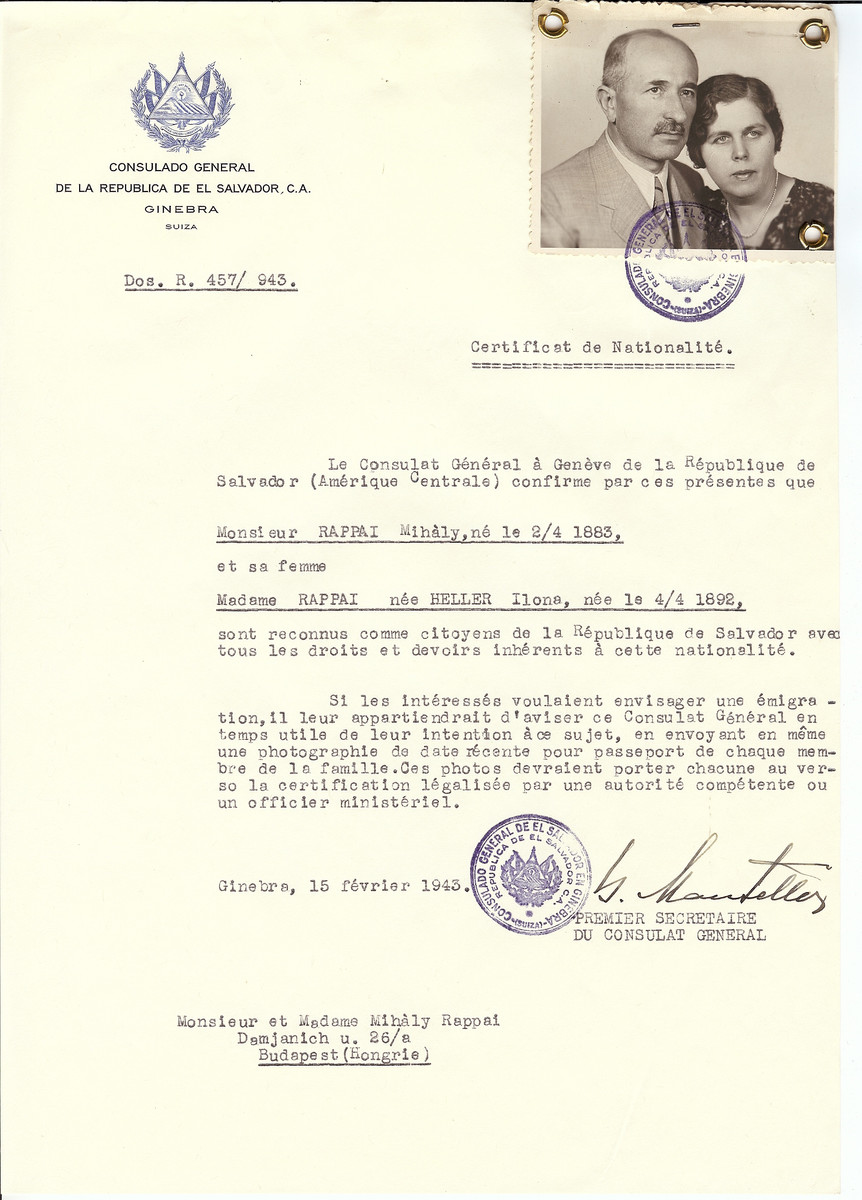 Unauthorized Salvadoran citizenship certificate issued to Milhaly Rappai (b. April 2, 1883) and Ilona (nee Heller) Rappai (b. April 4, 1892) by George Mandel-Mantello, First Secretary of the Salvadoran Consulate in Switzerland and sent to them in Budapest.