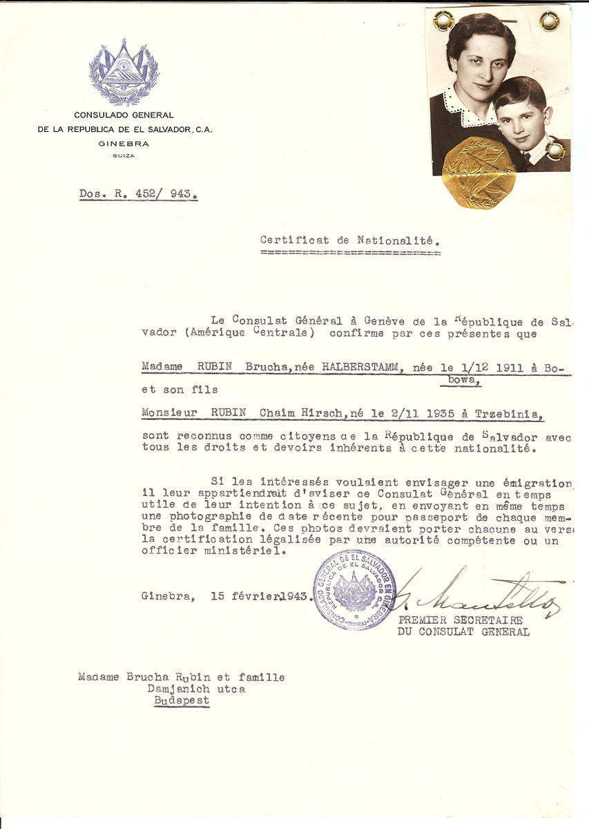 Unauthorized Salvadoran citizenship certificate issued to Brucha (nee Halberstamm) Rubin (b. December 1, 1911 in Bobowa) and her son Chaim Hirsch (b. November 2, 1935 in Trzebinia) by George Mandel-Mantello, First Secretary of the Salvadoran Consulate in Switzerland and sent to them in Budapest.