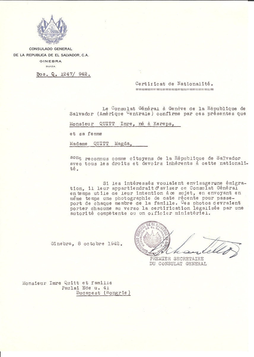 Unauthorized Salvadoran citizenship certificate issued to Imre Quitt (b. Kereps) and his wife Magda Quitt by George Mandel-Mantello, First Secretary of the Salvadoran Consulate in Switzerland and sent to them in Budapest.