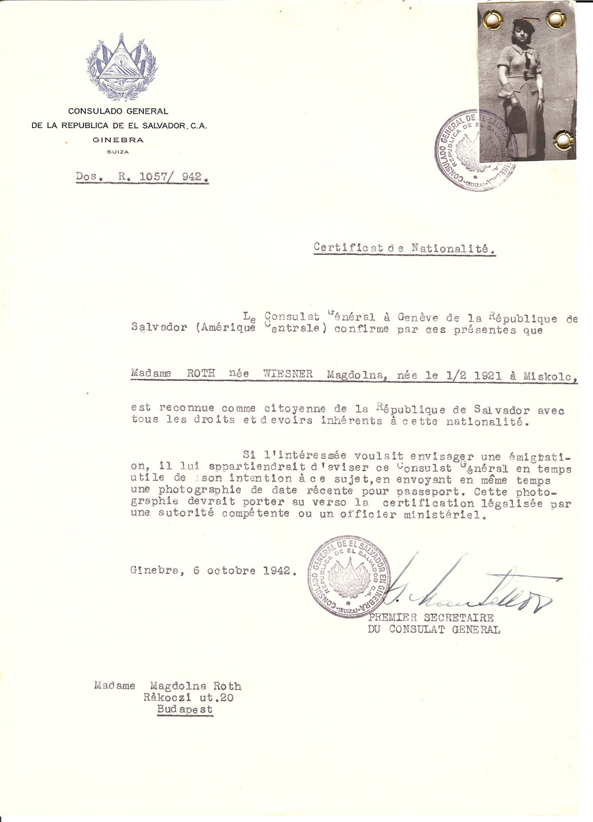 Unauthorized Salvadoran citizenship certificate issued to Magdolina (nee Wiesner) Roth (b. February 1, 1921 in Miskolc) by George Mandel-Mantello, First Secretary of the Salvadoran Consulate in Switzerland and sent to her in Budapest.  Magdolina Roth survived the Holocaust.