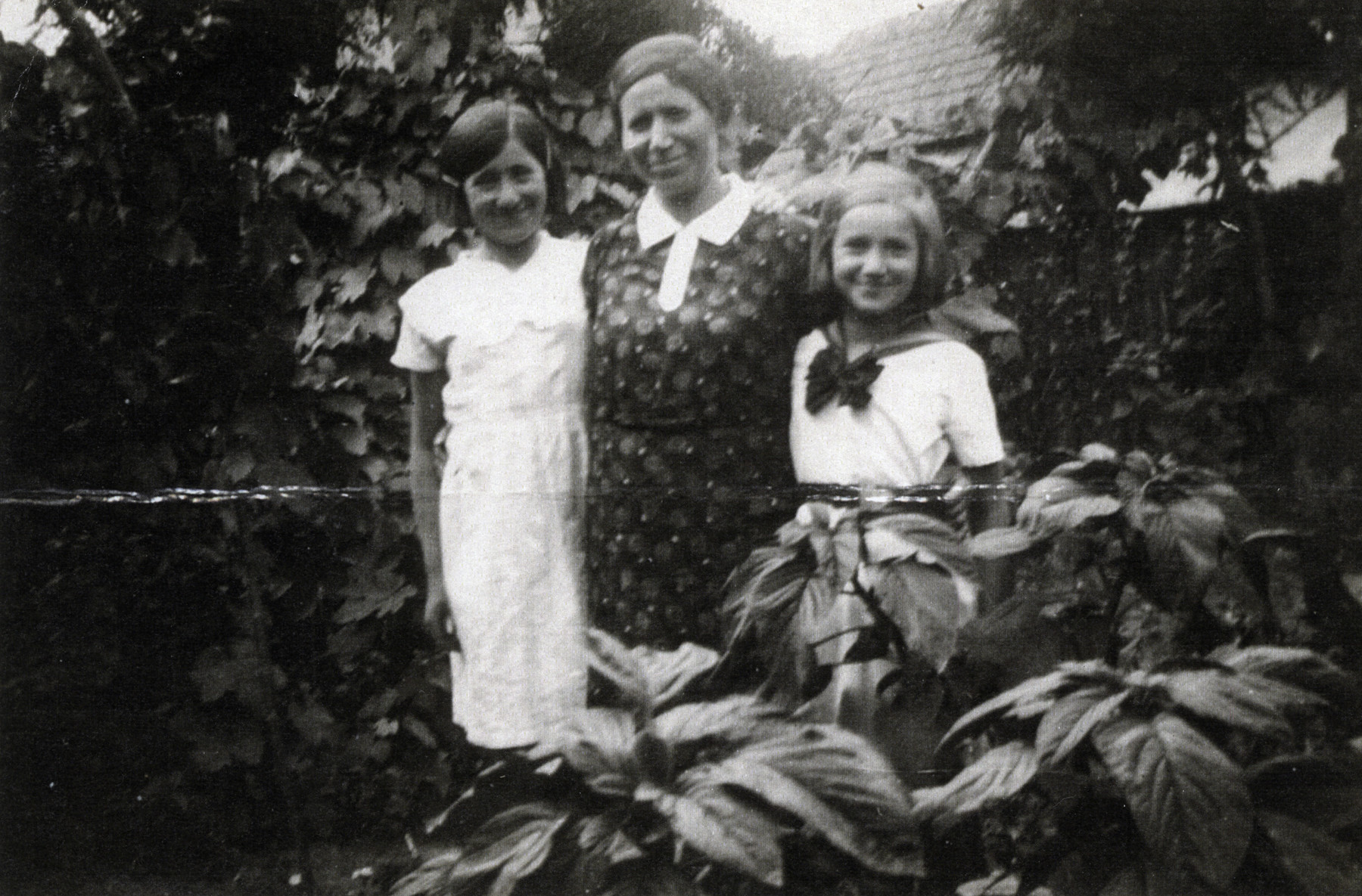 A mother and her two daughters pose in a wooded area near their home.   Pictured are mother Rosa Scharf and her daughters, Lili and Yehudit.