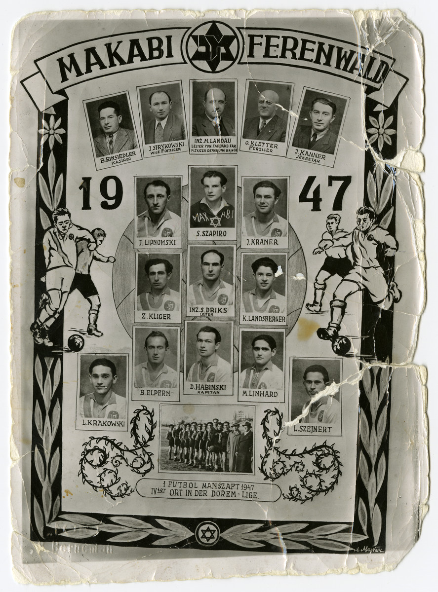 Composite photograph of the Makabi soccer team in the Foehrenwald displaced persons camp.