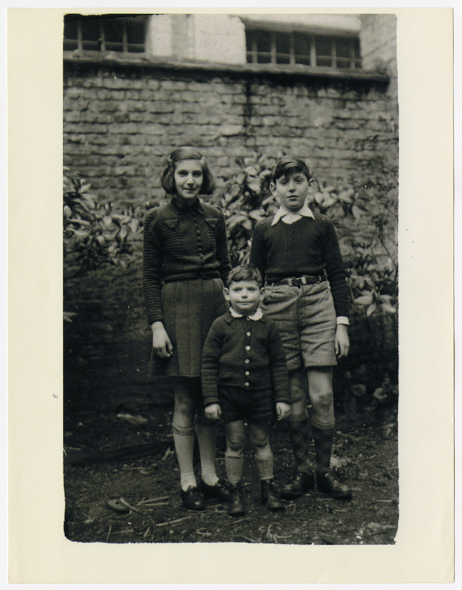 Portrait of the three Markowicz children.  From left top right are Rosa, Harry and Manfred.