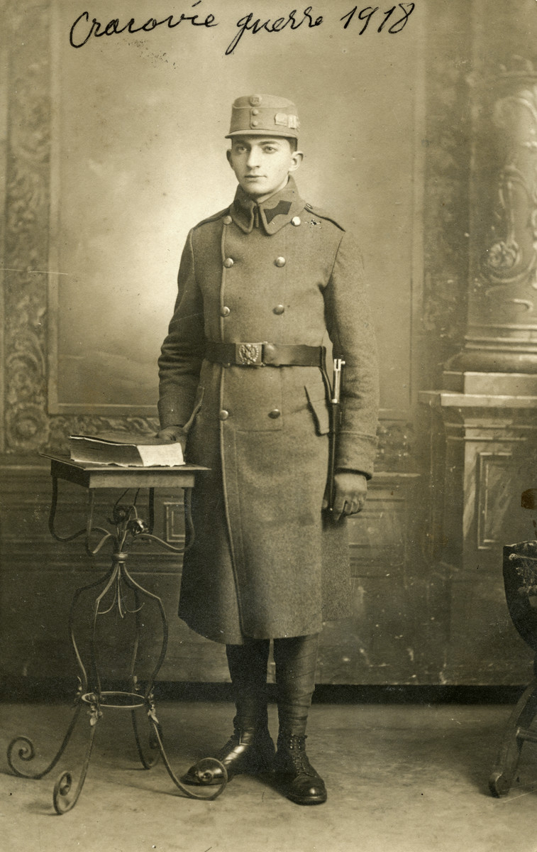 Studio portrait of Eduard Spira, a Jewish soldier in the Polish army.
