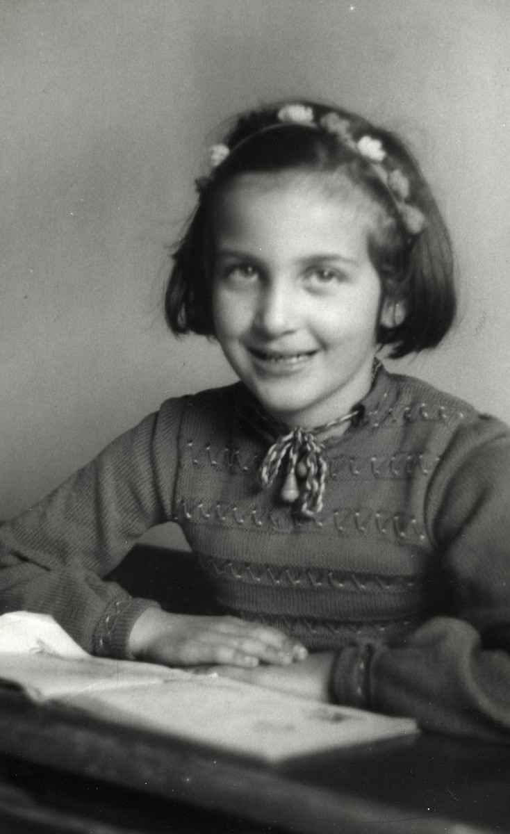 Studio portrait of Anita Randerath, a young Jewish girl and cousin of the donor, who was killed shortly after this photo was taken.