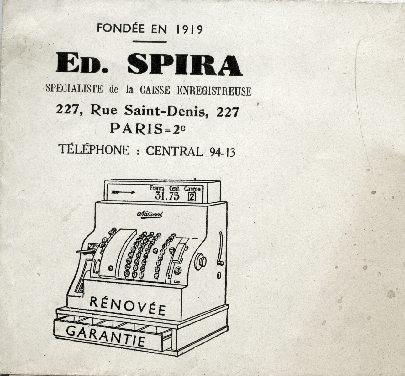 Business card for Eduard Spira's cash register company.