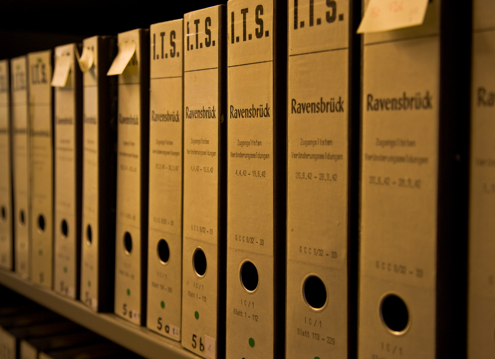 One row of International Tracing Service boxed files of Ravensbrueck concentration camp.