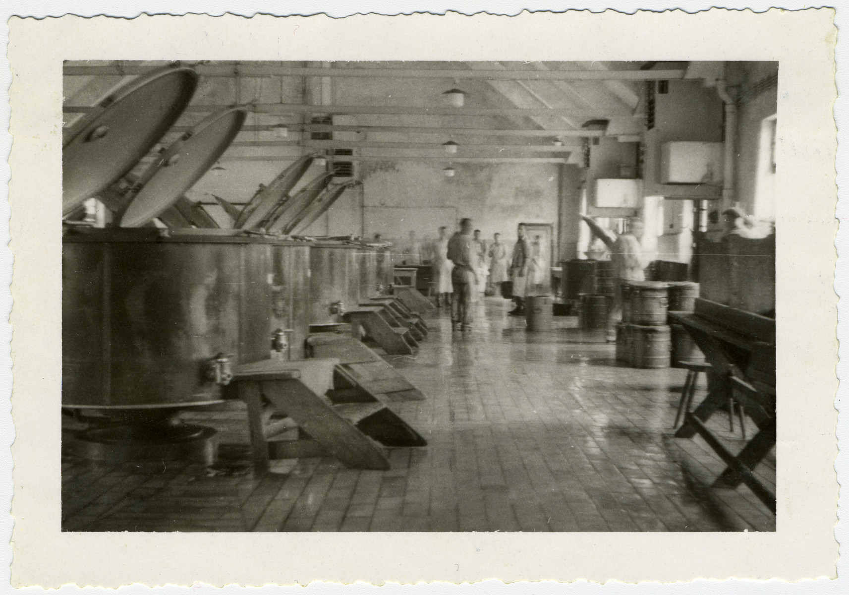 Interior view of the Buchenwald camp kitchen after liberation.
