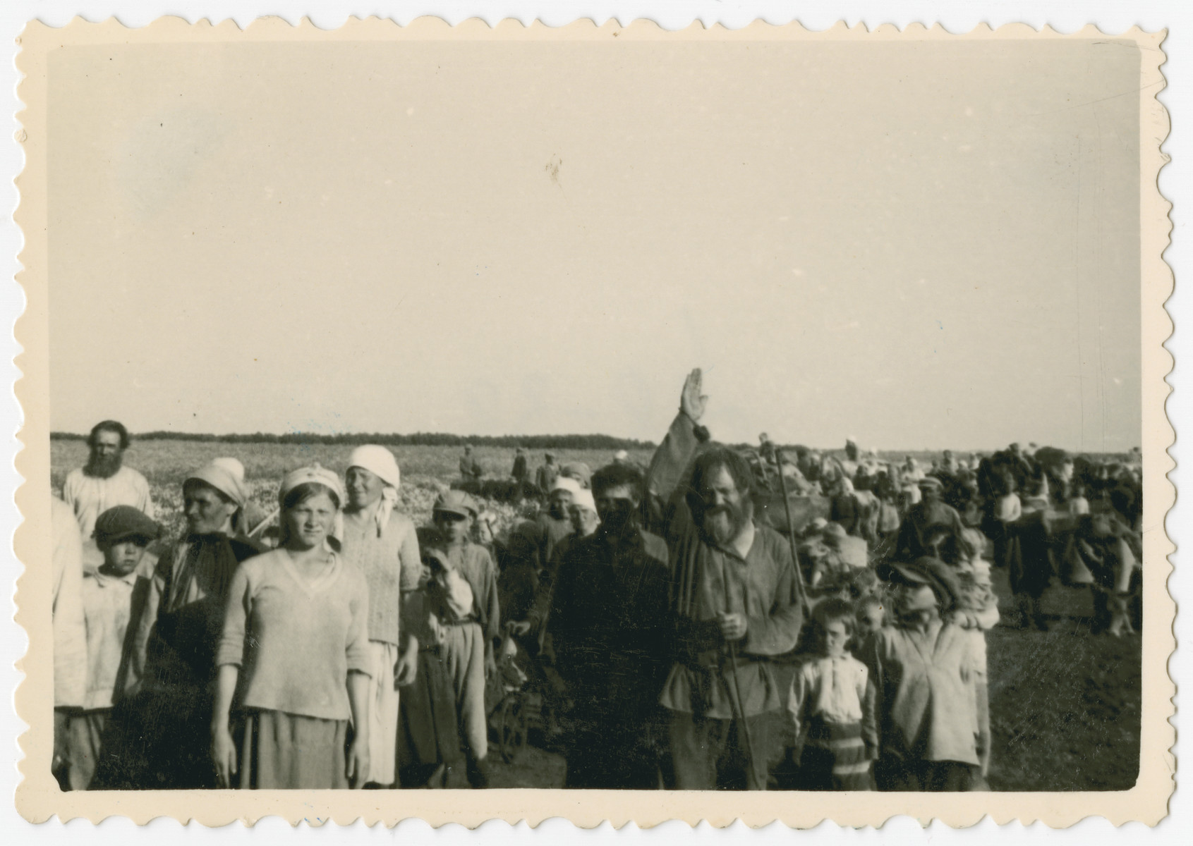 Photograph of a large number of civilians, among them many children, taken by a Hungarian soldier following the invasion of the Soviet Union.