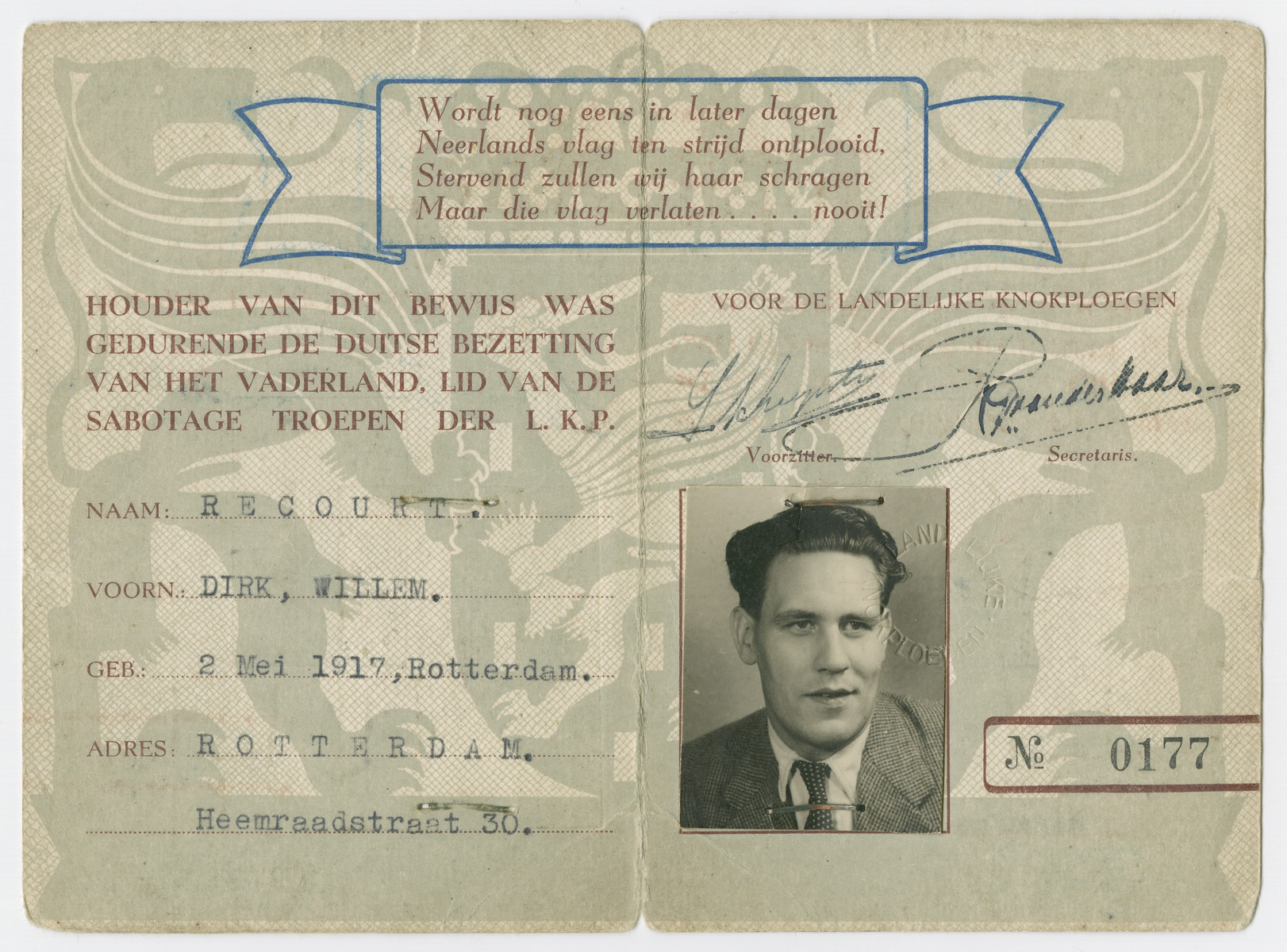 Identification card issued to Willem Dirk, a member of the Dutch resistance.