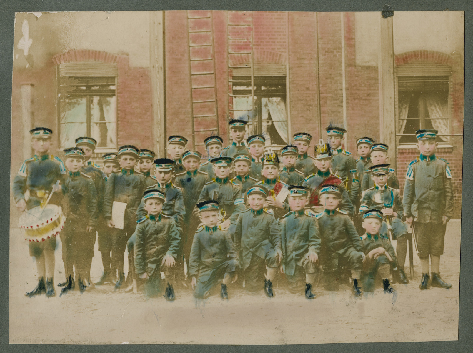 Illustrated postcard showing children at the Baruch Auerbach Jewish orphanage in Berlin.