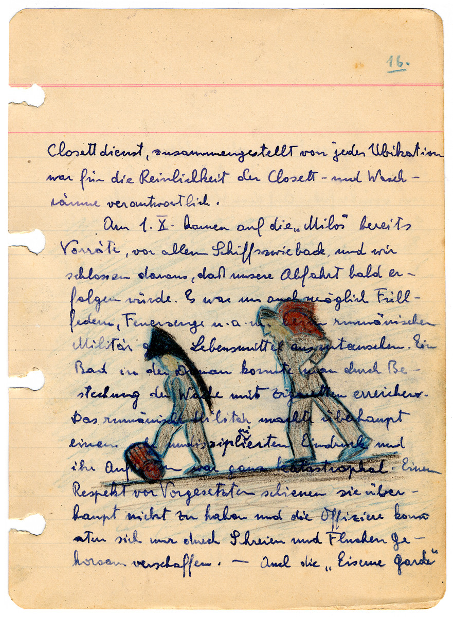 Illustrated page from the diary of Egon Weiss which he compiled during and immediately after his detention in the Athlit internment camp.