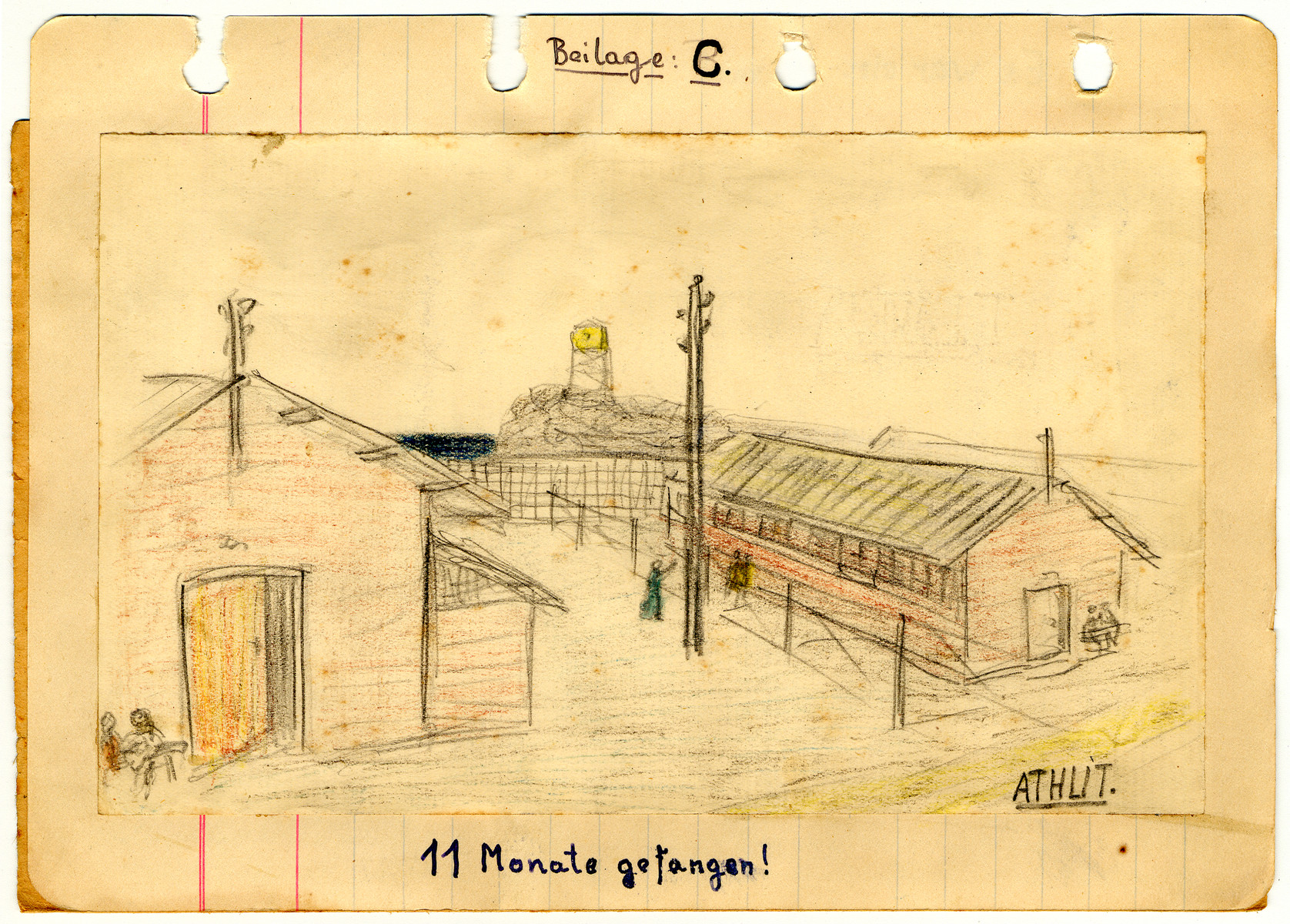 Illustrated page from the diary of Egon Weiss (probably drawn by a friend) showing the Athlit internment camp which he compiled during and immediately after his detention in the camp.