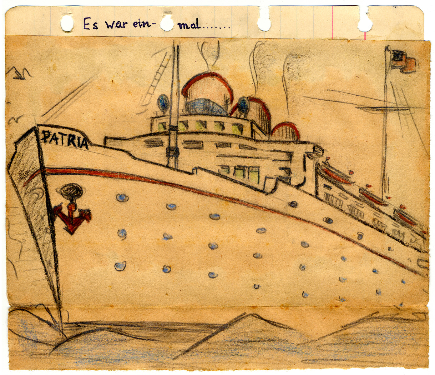Drawing of the Patria (probably drawn by a friend) and part of the illustrated diary of Egon Weiss which he compiled during and immediately after his detention in the Athlit internment camp.